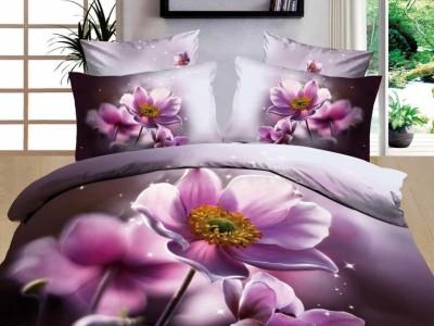 Oferta 1+1gratis: Lenjerie de pat 3D digital print, Ralex Pucioasa, Purple Flower