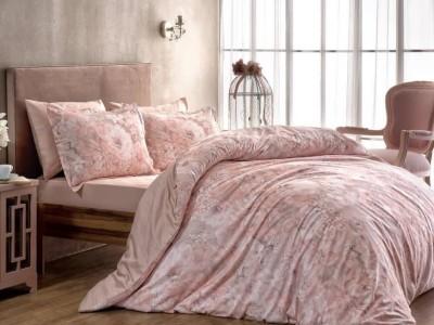 Lenjerie de pat bumbac 100% satinat digital, cu 2 cearceafuri pilota, Blanche Roz Pudra