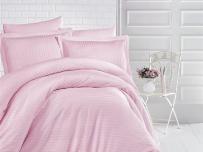 Lenjerie de pat damasc gros cu elastic ptr saltea de 140x200cm - Roz Pudra