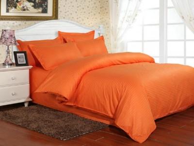 Lenjerie de pat damasc gros cu elastic ptr saltea de 160x200cm, culoarea Portocaliu