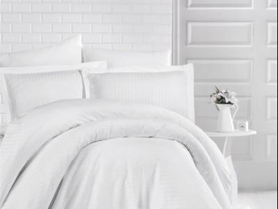 Lenjerie de pat damasc gros cu elastic ptr saltea de 140x200cm - Alb