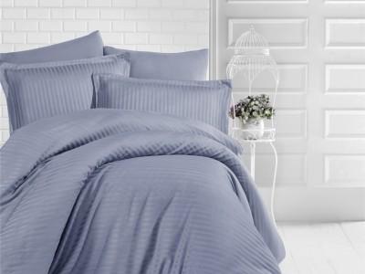 Lenjerie de pat damasc gros cu elastic ptr saltea de 140x200cm - Antracit