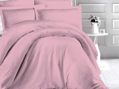 Lenjerie de pat damasc gros cu elastic ptr saltea de 140x200cm, culoarea Roz