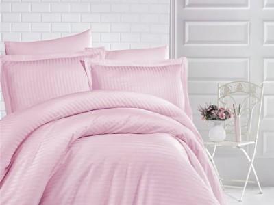 Lenjerie de pat damasc gros cu elastic ptr saltea de 160x200cm - Roz Pudra