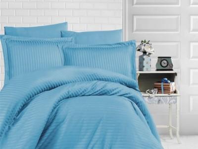 Lenjerie de pat damasc gros cu elastic ptr saltea de 160x200cm - Turcoaz