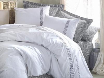Lenjerie de pat de lux cu broderie, Cotton Box, Paola Grey