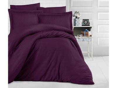 Lenjerie de pat dublu damasc gros culoarea mov inchis