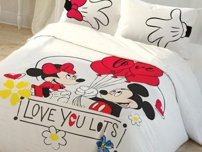 Lenjerie de pat dublu, Tac, Minnie & Mickey LOVE YOU LOTS