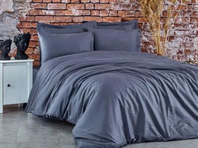 Lenjerie de pat premium satin de lux, Club Cotton, Stripe Antracit