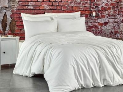 Lenjerie de pat premium satin de lux, Club Cotton, Stripe - Crem