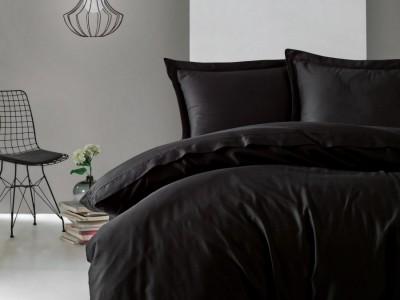 Lenjerie de pat premium satin de lux, Cotton Box, Elegant - Black