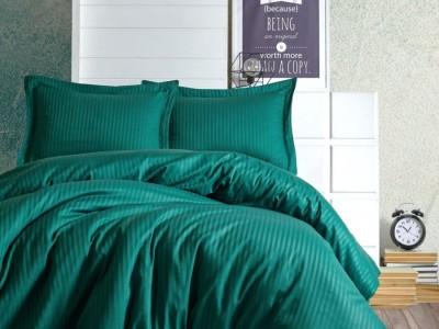 Lenjerie de pat premium satin de lux, Cotton Box, Stripe - Petrol Green