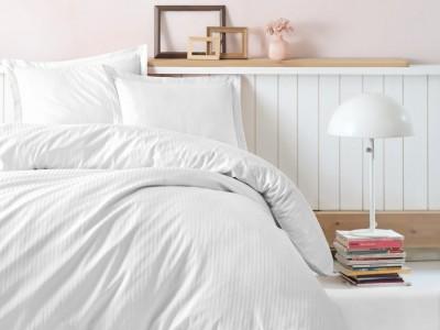 Lenjerie de pat premium satin de lux, Cotton Box, Stripe - White