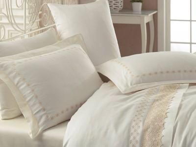 Lenjerie de pat premium satin de lux cu broderie, Cotton Box, Lace Ecru