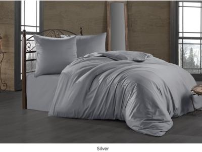 Lenjerie de pat satin de lux cu 2 cearceafuri pilota, 7 piese, Class Home Collection, Silver
