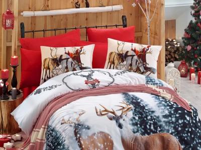 Lenjerii 3D Craciun bumbac 100% ranforce, Cotton Club, Deer
