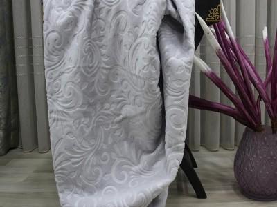 Patura embosata 200x220cm, Monk Gri deschis Floral