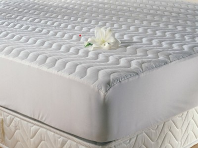 Protectie matlasata cu elastic, TAC, bumbac 100%, 200x200cm, alba