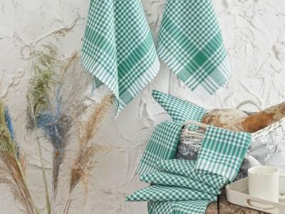 Set 10 prosoape bucatarie bumbac 100%, Ekose - Verde