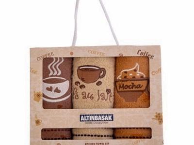 Set 3 prosoape bucatarie bumbac 100%,  Café latte
