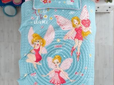 Set cuvertura matlasata + 1 fata perna bumbac 100%, Power Girl