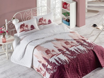 Set cuvertura matlasata 200x220cm+ 2 fete perna 50x70cm Doga - Claret Red