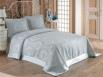 Set de lux cuvertura jaquard 240x260cm + 2 fete perna 50x70cm - Rose Mint v2