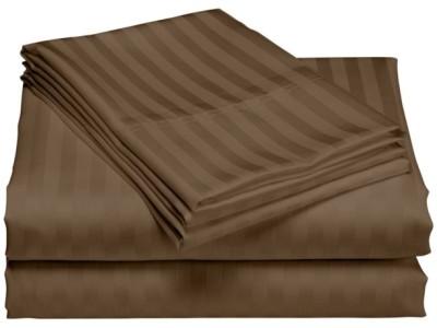 Set husa de pat din damasc+ 2 fete de perna pentru saltea de 140x200cm maro
