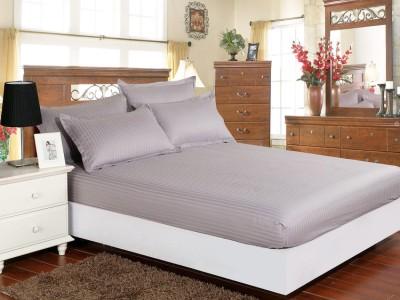 Set husa de pat din damasc+ 2 fete de perna pentru saltea de 160x200cm, gri deschis