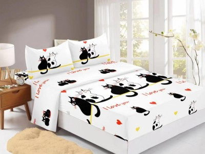 Set husa de pat din finet + 2 fete de perna pentru saltea de 140x200cm HPF309