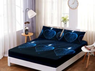Set husa de pat din finet + 2 fete de perna pentru saltea de 160x200cm HPF20