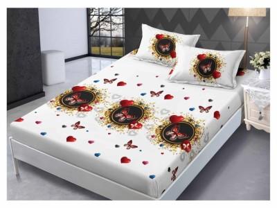 Set husa de pat din finet + 2 fete de perna pentru saltea de 160x200cm HPF212
