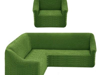 Set Husa elastica din material creponat, pentru coltar + fotoliu, Verde
