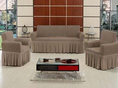 Set Husa elastica pentru canapea 3 locuri si 2 fotolii, bumbac elasticizat, cu volan, Bej