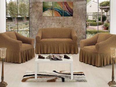 Set Husa elastica pentru canapea 3 locuri si 2 fotolii, bumbac elasticizat, cu volan, Maro Deschis