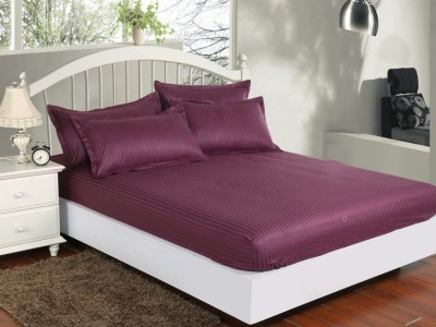 Set husa pat din damasc+ 1 fata perna pentru saltea de 100x200cm Mov Inchis