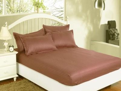 Set husa pat din damasc+ 2 fete perna pentru saltea de 140x200cm maro inchis