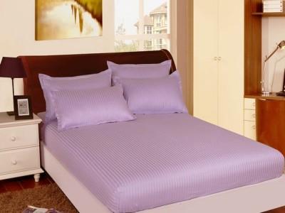 Set husa pat din damasc+ 2 fete perna pentru saltea de 180x200cm lila
