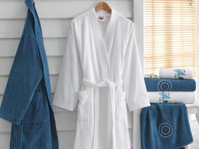 Set matrimonial 100% bumbac, 2 halate baie +4 prosoape - Blue, White