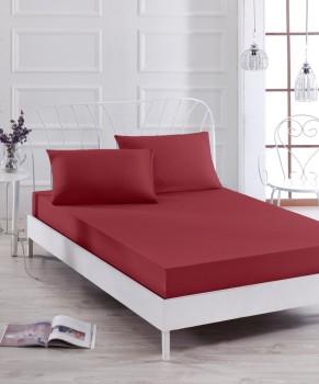 Cearceaf de pat cu elastic si 1 fata perna, bumbac 100%, 100x200cm, Bordo, Majoli by Bahar Tekstil