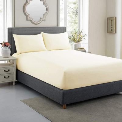 Cearceaf de pat cu elastic si 1 fata perna, bumbac 100%, 100x200cm, Crem, Majoli by Bahar Tekstil