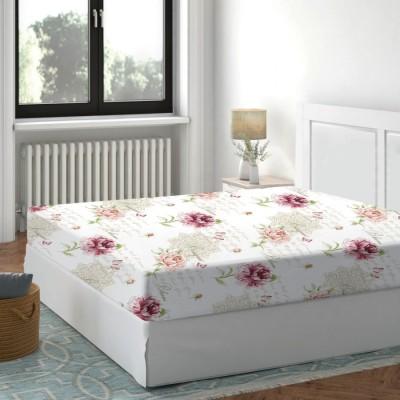 Cearceaf de pat cu elastic bumbac 100%,180x200cm, Floral Roz
