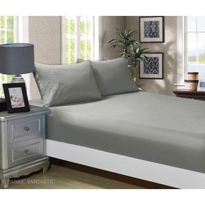 Cearceaf de pat cu elastic + 2 fete de perna, bumbac 100%, 160x200cm+30cm, Gri