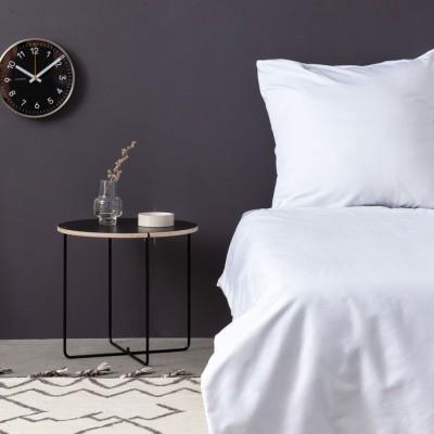Cearceaf de pat satin cu elastic bumbac 100%, 160x200cm, alb