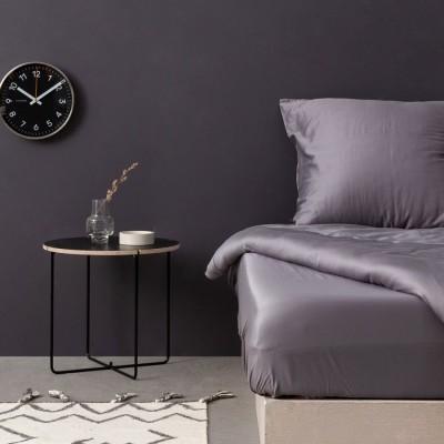 Cearceaf de pat satin cu elastic bumbac 100%, 180x200cm, gri inchis