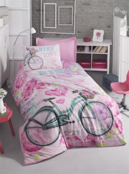 Cotton Box - Lenjerie pat 1 persoana bumbac 100 ranforce, Bike - Pink