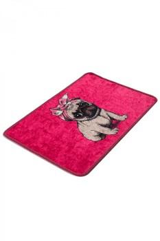 Covoras baie 40x60 cm, Alessia Home, Pink Pug DJT