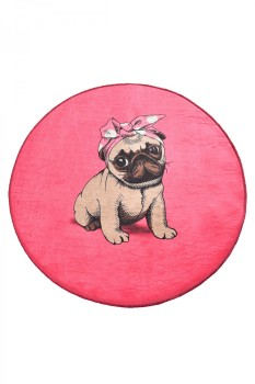 Covoras de baie, Alessia Home, Pink Pug DJT , 100 cm