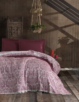 Cuvertura jacquard cu franjuri bumbac 100%, 240 x 260cm, Eponj Home, Nish - Claret Red