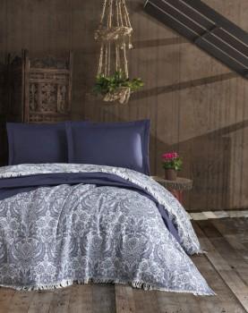 Cuvertura jacquard cu franjuri bumbac 100%, 240 x 260cm, Eponj Home, Nish - Dark Blue